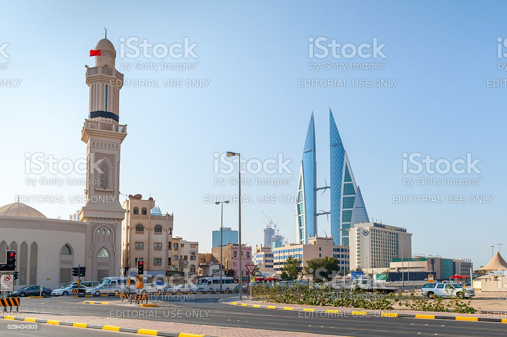 Shaikh Hamad Causeway street view. Manama, Bahrain stock photo