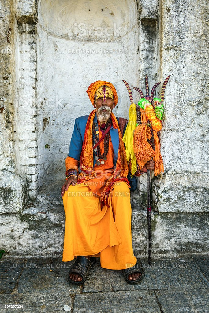 Shaiva sadhu (holy man) in ancient Pashupatinath Temple photo libre de droits