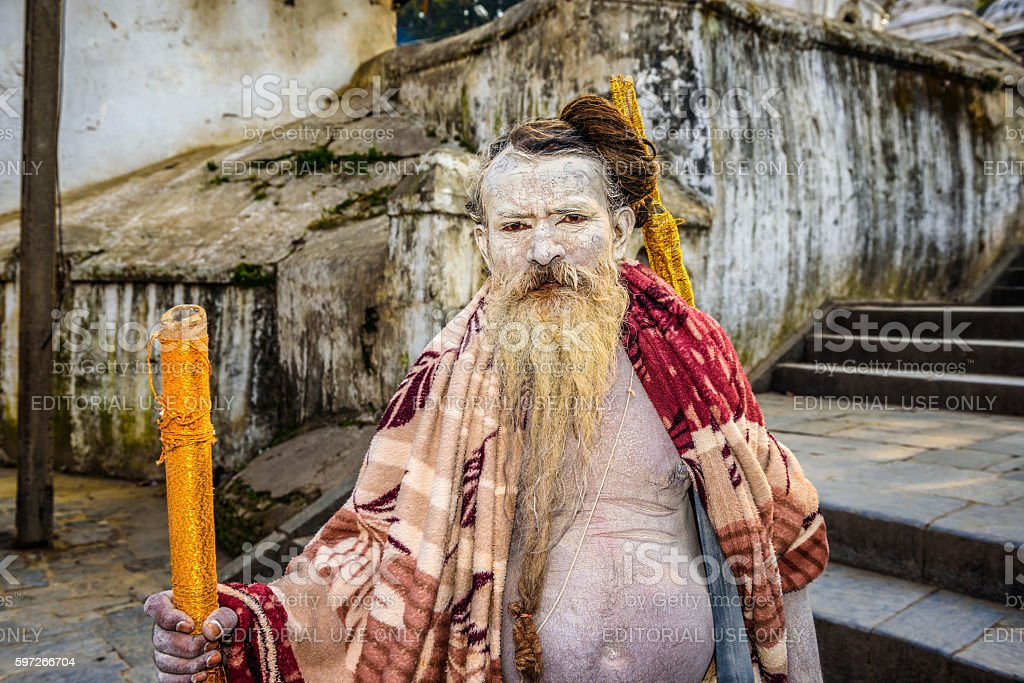 Shaiva sadhu (holy man) in Pashupatinath Temple in Nepal royalty-free stock photo