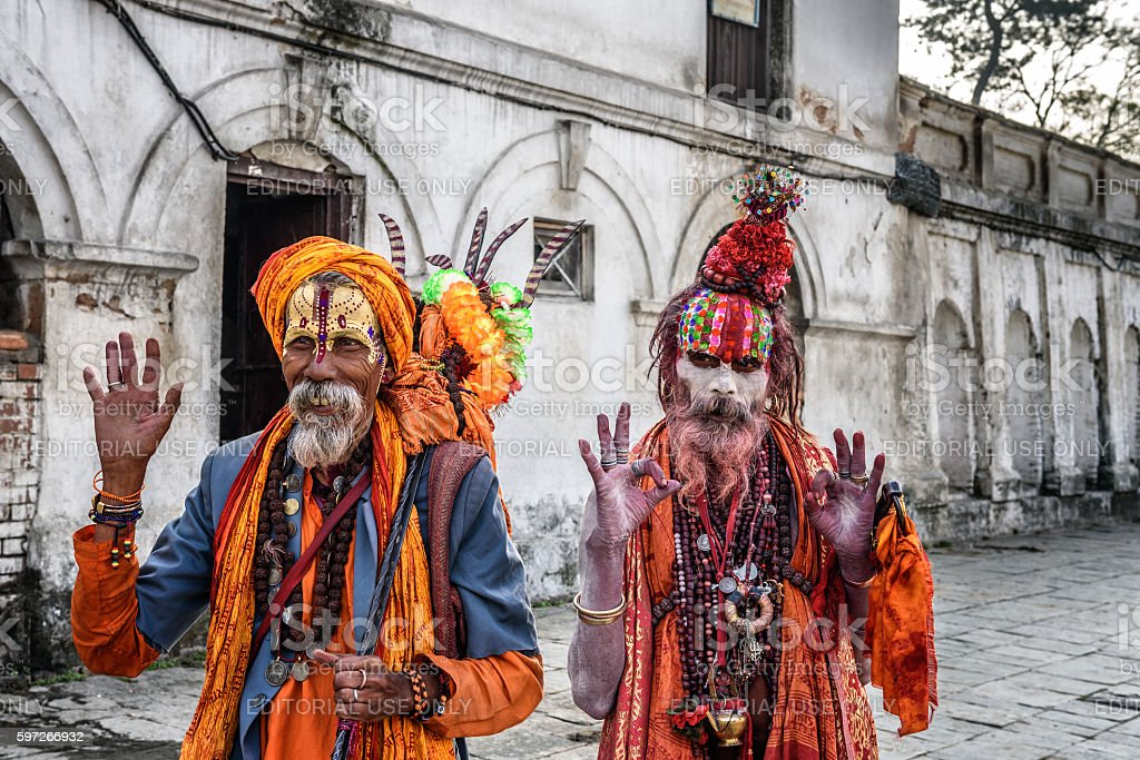 Shaiva sadhus (holy men) in ancient Pashupatinath Temple stock photo
