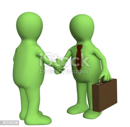istock Shake hand of two 3d stylized people 92226206