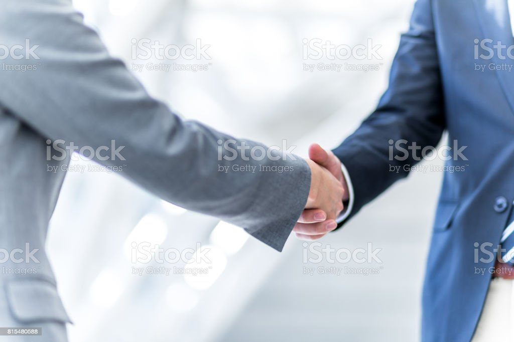 shake hands, business greeting concept stock photo
