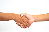 Shake-hand or hand holding hand on white background