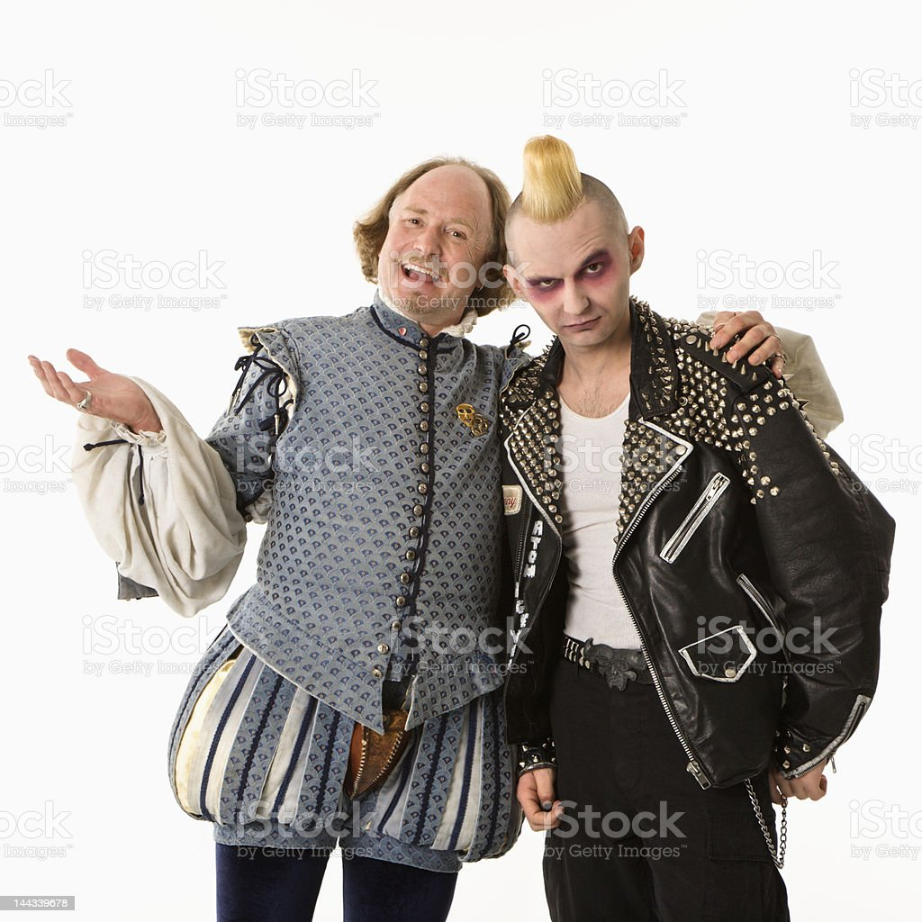 Shakespeare and punk man. stock photo