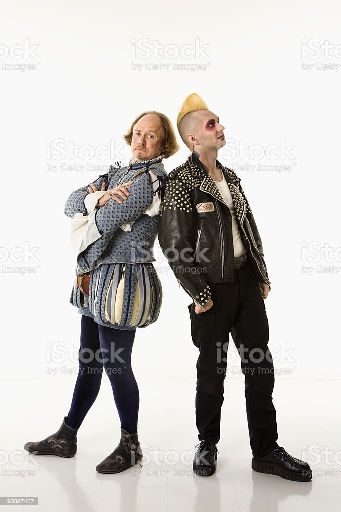 Shakespeare and punk. stock photo