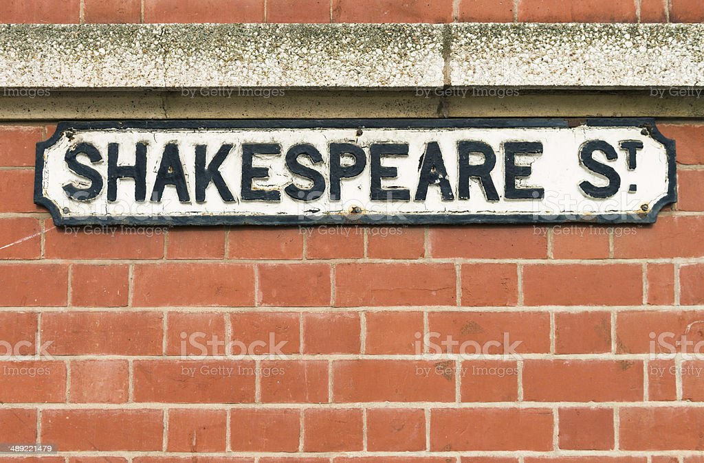 Shakespeare Street Sign stock photo