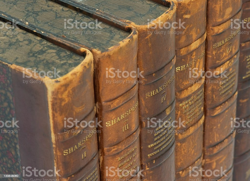 shakespeare volumes a selection of antique volumes of Shakespeare works Antique Stock Photo