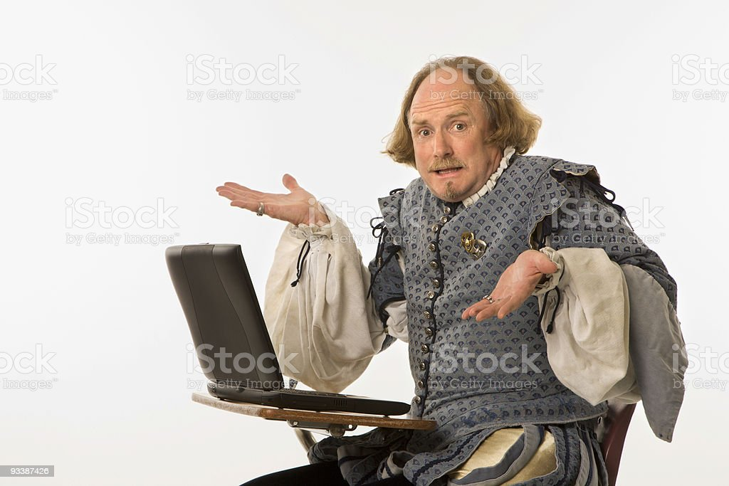 Shakespeare with computer. stock photo