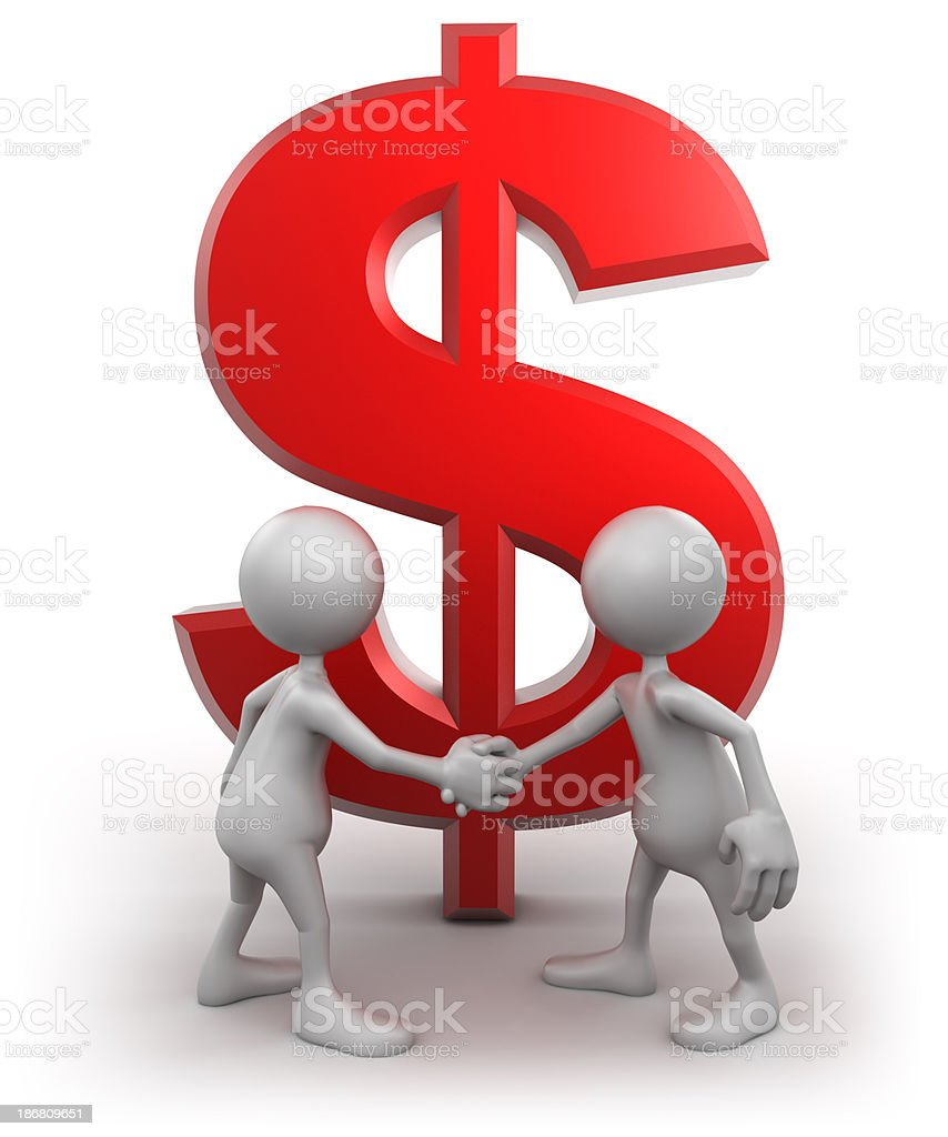 Shaking hands in front of Dollar sign, isolated/clipping path royalty-free stock photo