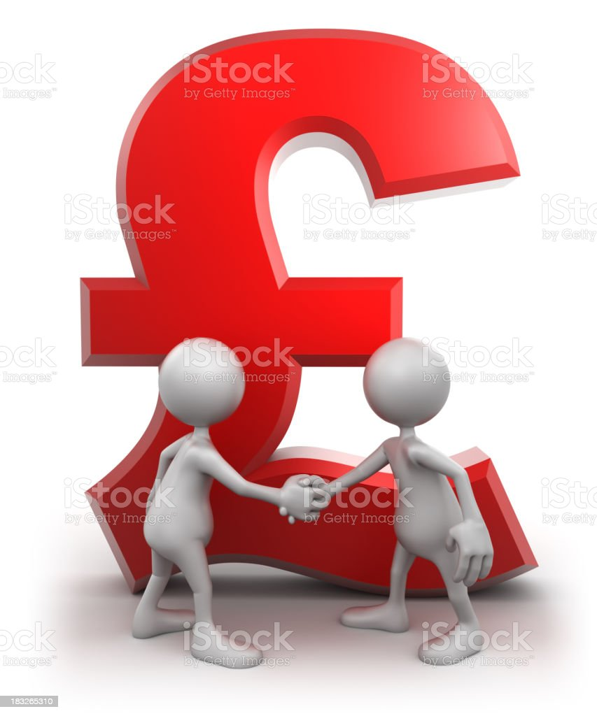 Shaking hands in front of Pound sign, isolated/clipping path royalty-free stock photo