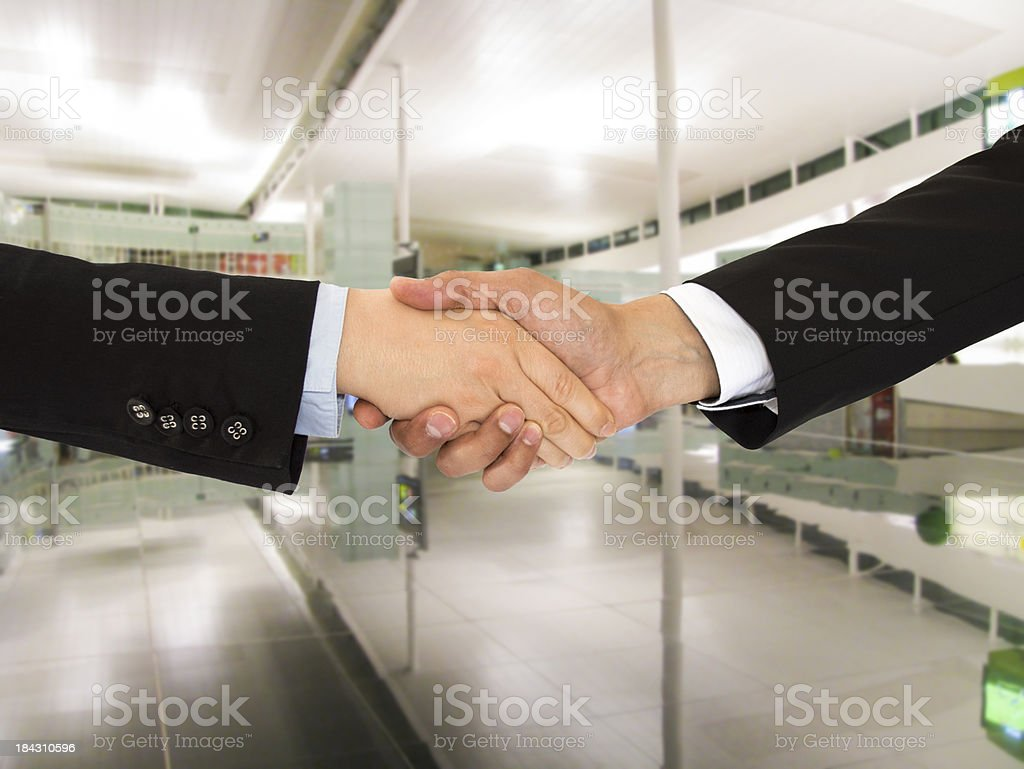 shaking hands in office royalty-free stock photo