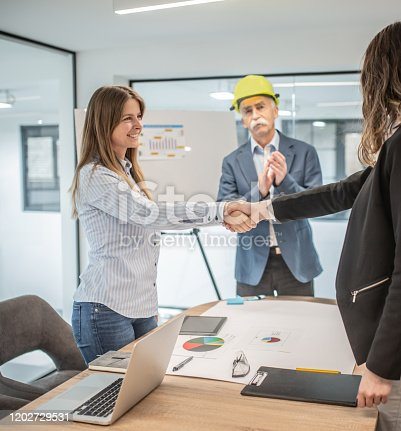 1070271598 istock photo Shaking hands in the office 1202729531