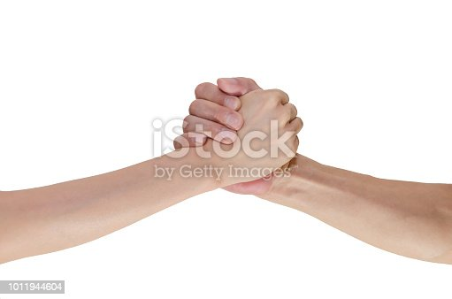 istock Shaking hands isolated on white 1011944604