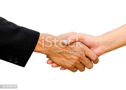 istock Shaking hands of businessman and business women 922669046