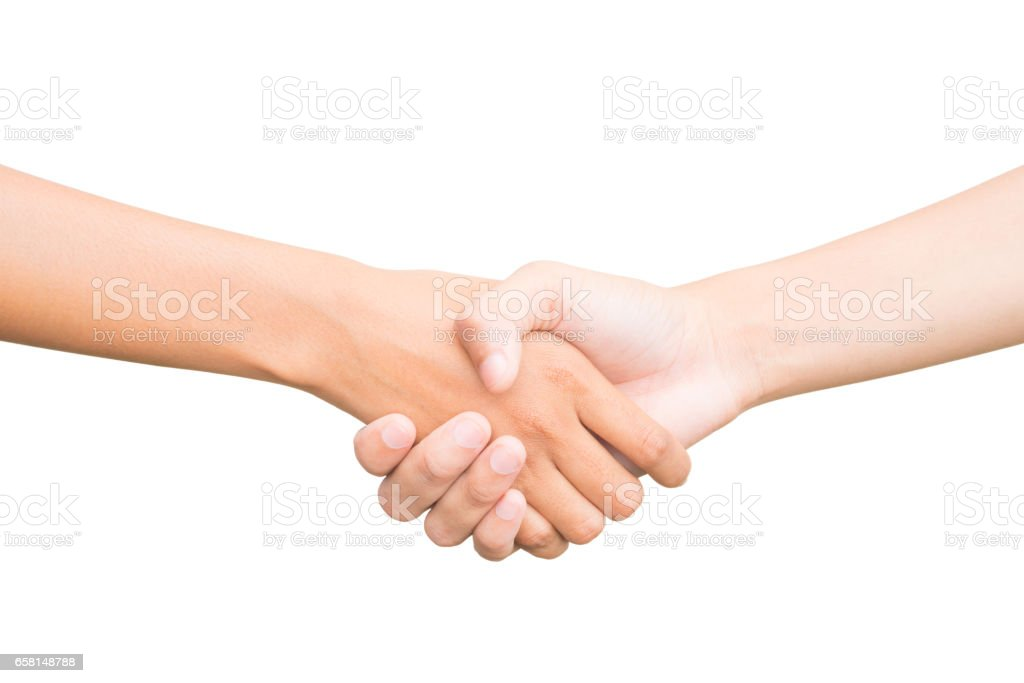Beim Händeschütteln von zwei männliche Personen, isoliert auf weiss – Foto