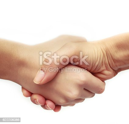 istock Shaking hands of two people, isolated on white 622206086