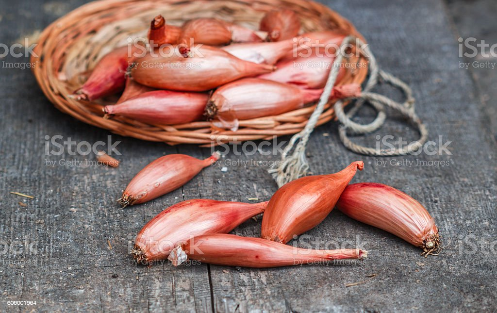 Shallot onions on an old wooden table. A rustic style - Royalty-free Biologisch Stockfoto