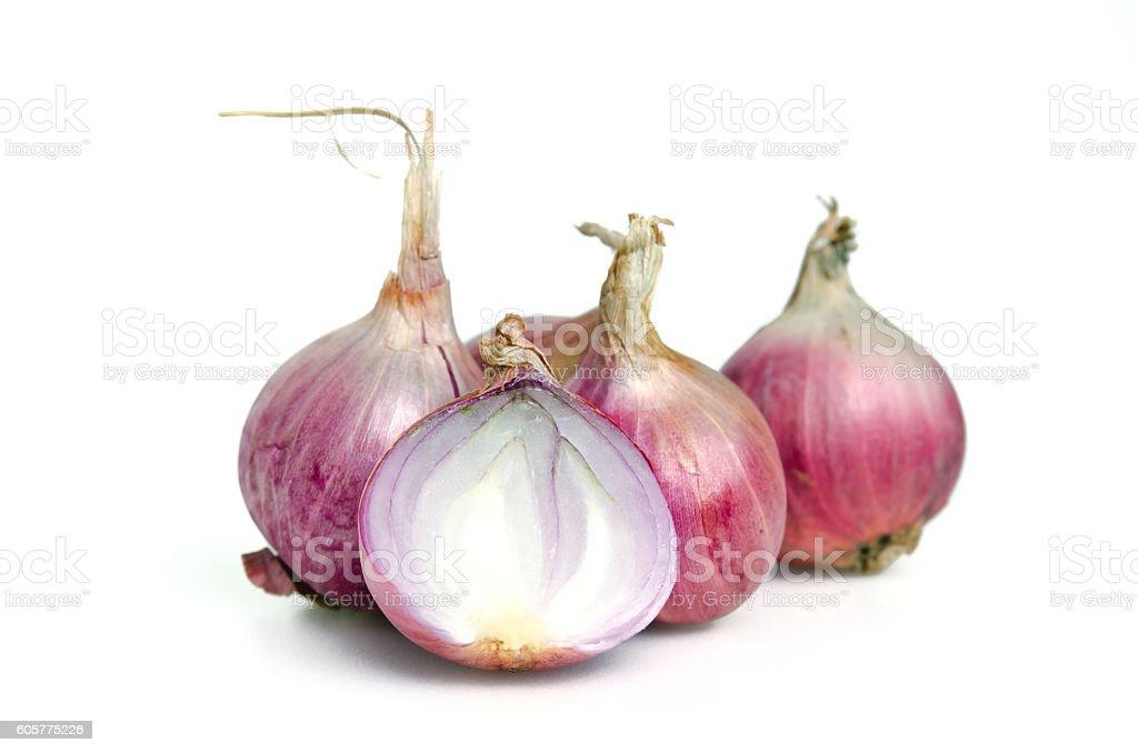 Shallots, onions, isolated on white background stock photo
