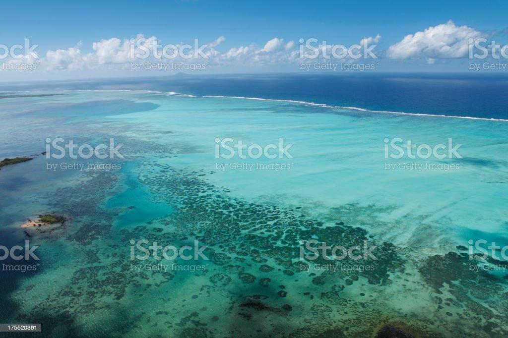 Flachen coral sea entlang der Küste von Mauritius Lizenzfreies stock-foto