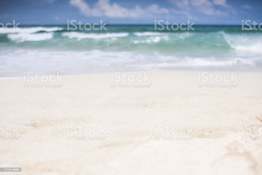 Shallow focus Porthmeor Beach at St. Ives Cornwall stock photo