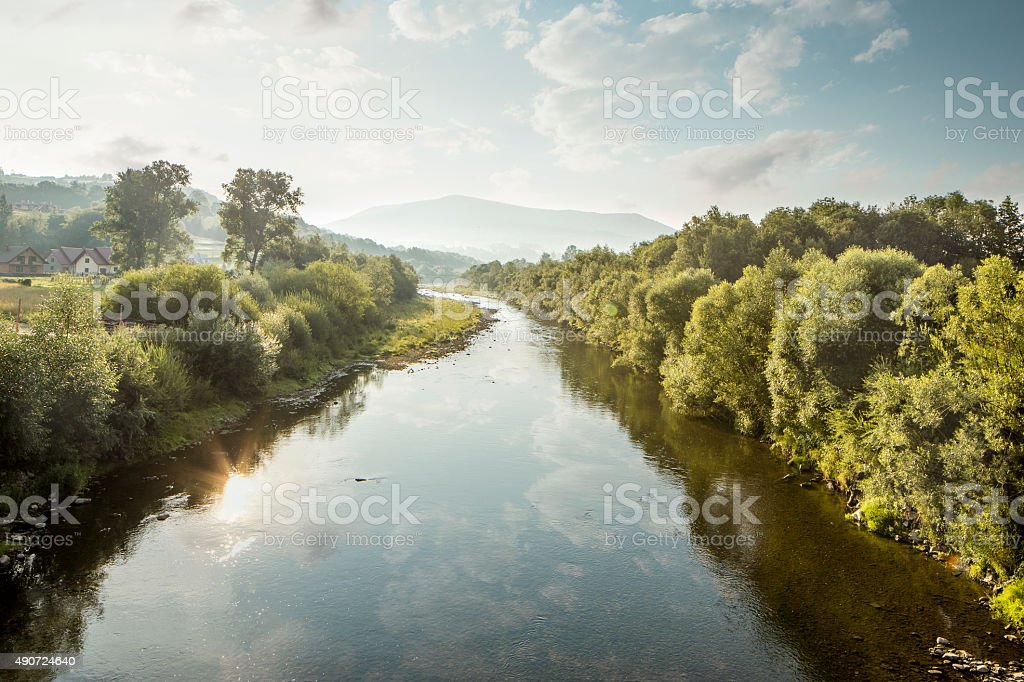 Shallow Raba river during drought, Poland