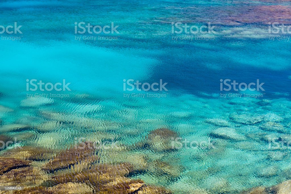Shallow water ripples in the summer lights open underwater stones stock photo