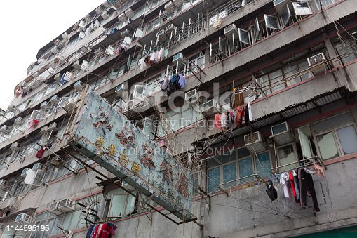 Hong Kong, Hong Kong - April 21, 2019 : Old building in Sham Shui Po, Kowloon, Hong Kong. Sham Shui Po is usually regarded as one of the poorest and oldest districts in Hong Kong, it is well-known for people to find cheap and local food in Sham Shui Po.