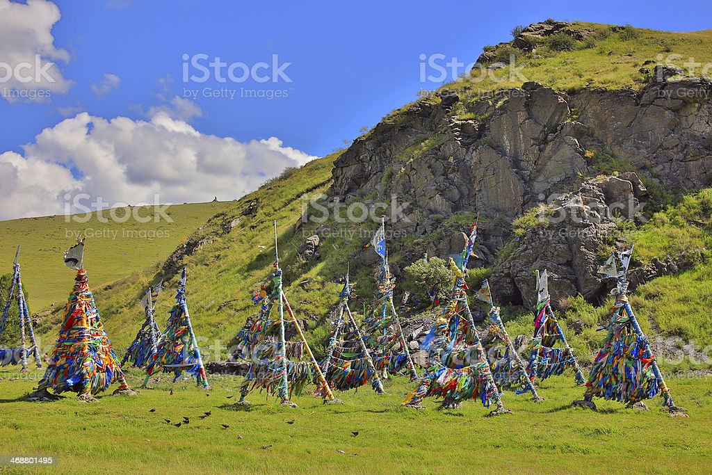 Shaman Adak Tree, prayer's flag, Mongolia stock photo