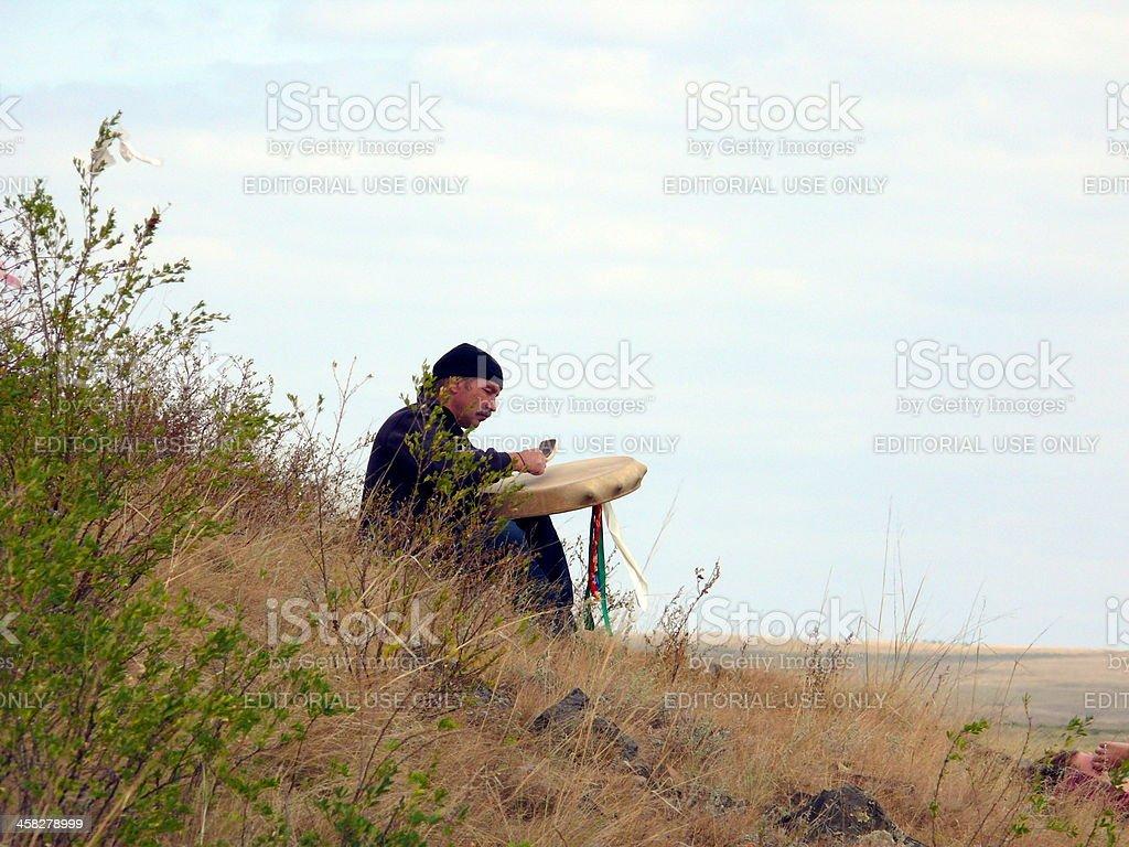 Shaman make heathen ritual in, Arkaim, Chelyabinsk area, Russia stock photo