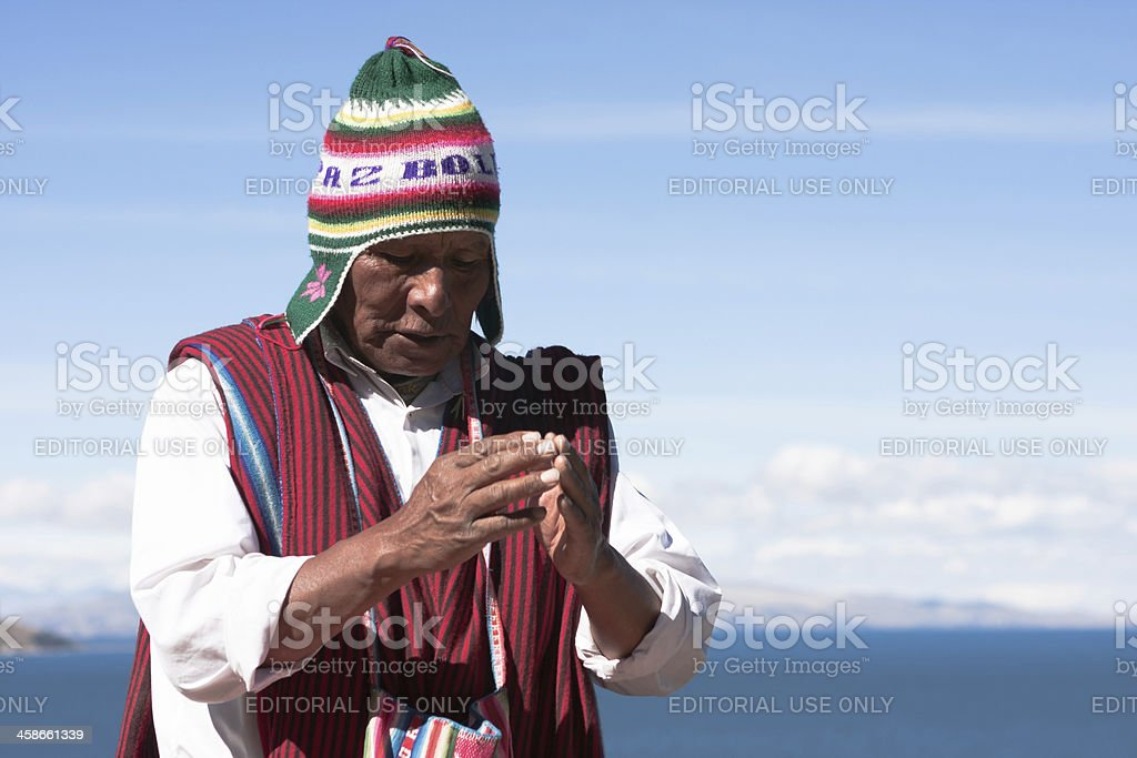 Shaman performs purification ritual stock photo