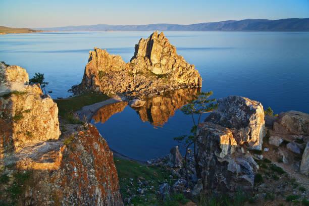 Shamanka-Rock on Baikal lake, Russia stock photo