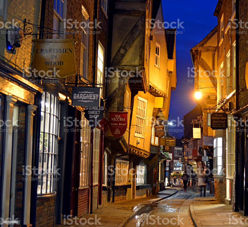 Shambles shoping street. york. England. stock photo