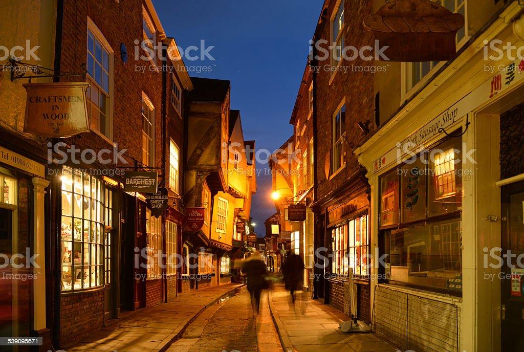 Shambles street scene in York. stock photo