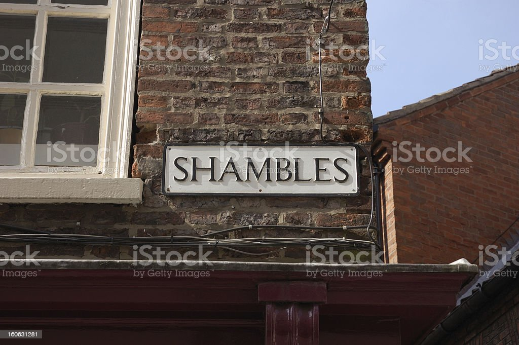 Shambles Street Sign, York stock photo