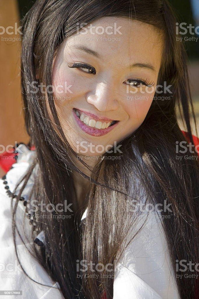Shameful asian girl stock photo