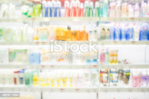 istock Shampoo bottle in shopping mall , Blur photographyl 682671694