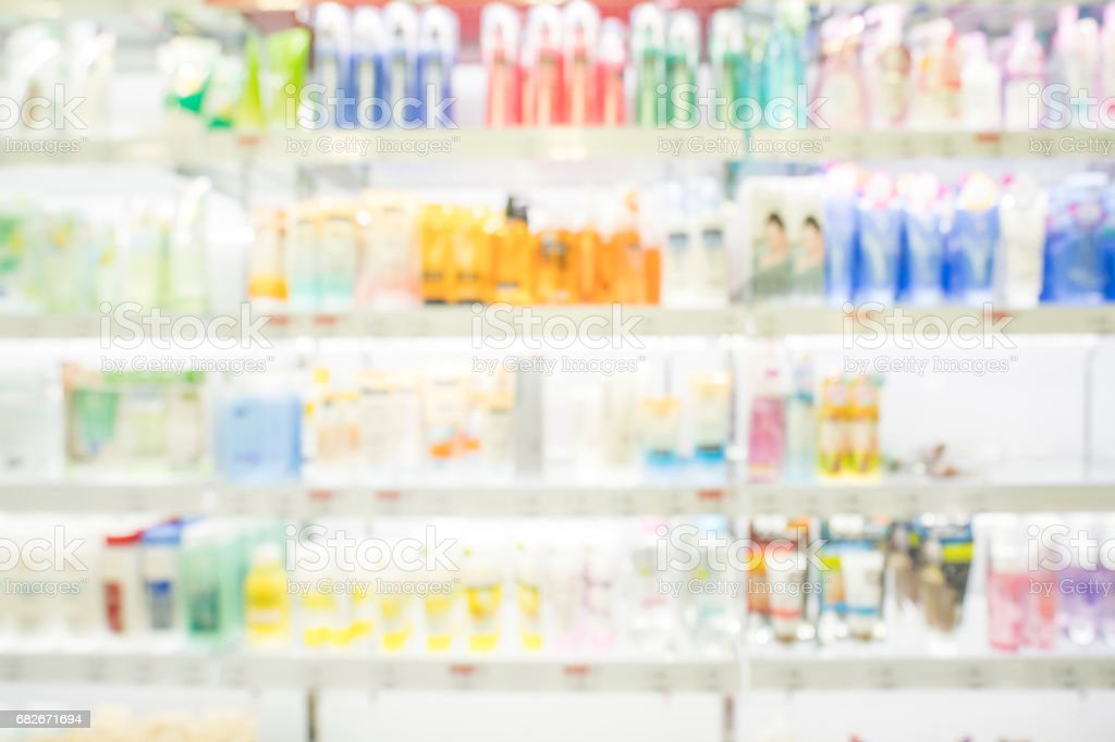 Shampoo bottle in shopping mall , Blur photographyl stock photo