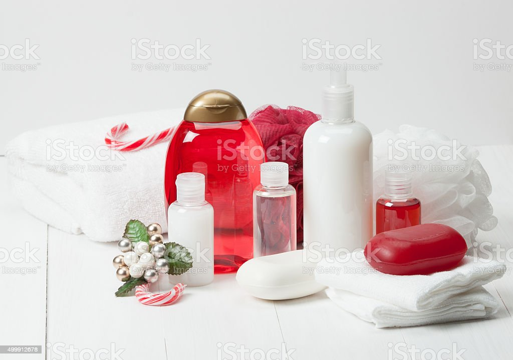 Shampoo, Soap Bar And Liquid. Toiletries, Spa Kit, Towels stock photo