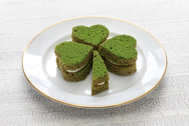 shamrock green cake, homemade dessert for saint patrick's day - st patricks day food stock photos and pictures