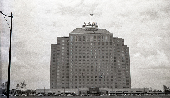 Shamrock Hotel in Houston, Texas, USA completed in 1949 and demolished in 1987. Photographed in 1949 with Ansco Ultra Speed scanned film with grain.