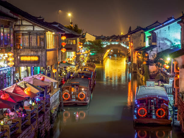 Shan Tong Street, the famous historical street in Suzhou. (China) stock photo