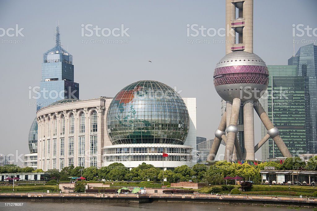 Shangai Convention Center and Oriental Pearl Tower stock photo