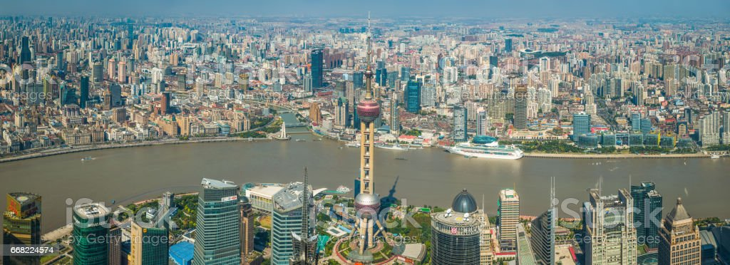 Shanghai aerial panoramic view across Pudong Bund crowded cityscape China stock photo
