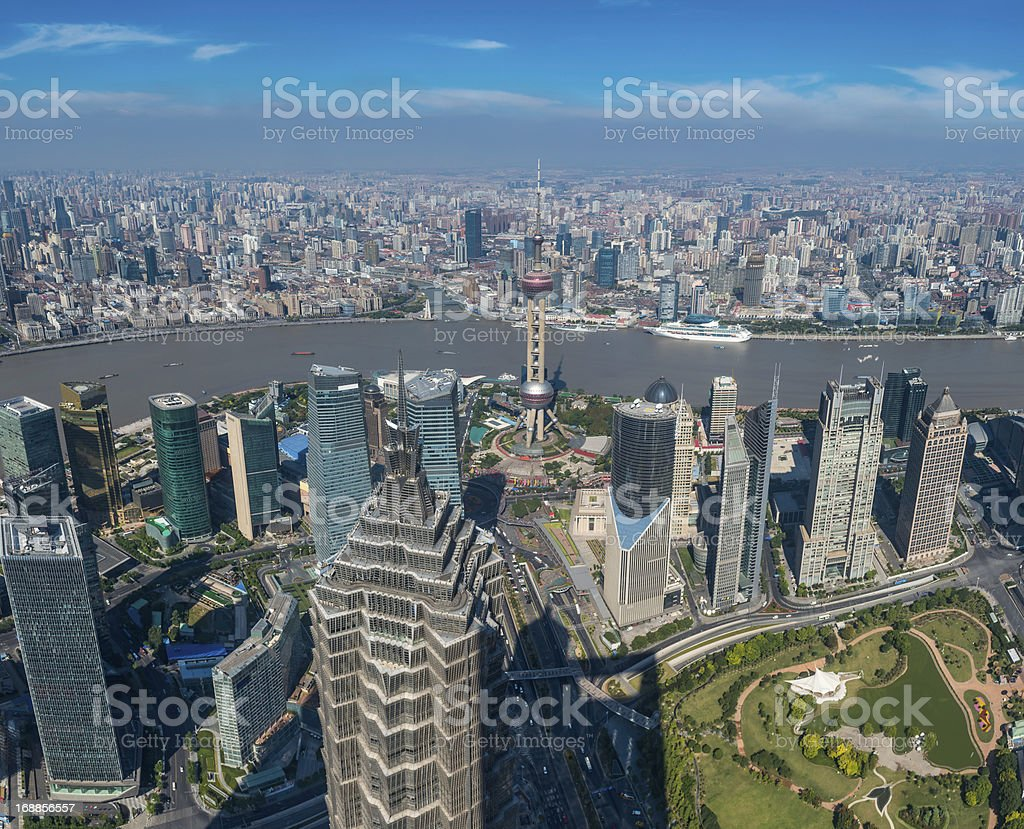 Shanghai aerial view over Pundong skyscrapers and The Bund China royalty-free stock photo