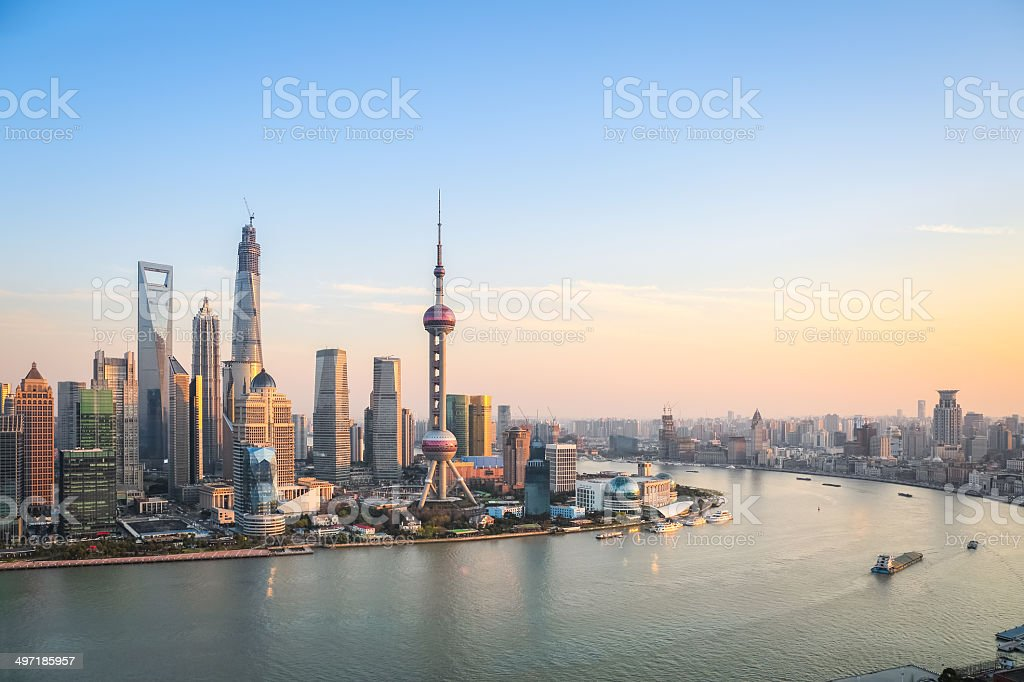 shanghai at dusk stock photo