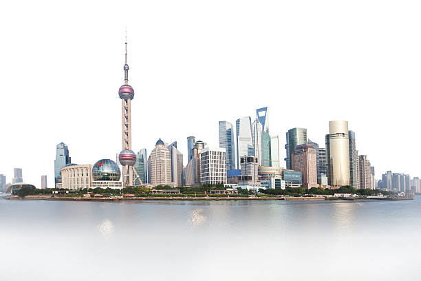 Shanghai bund area Shanghai bund area panoramic view,, top isolated on white,, bottom fades in to white huangpu river stock pictures, royalty-free photos & images