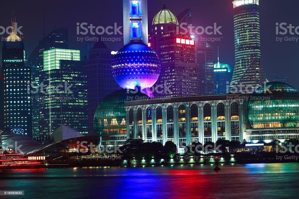 Shanghai Bund of skyline night scene stock photo