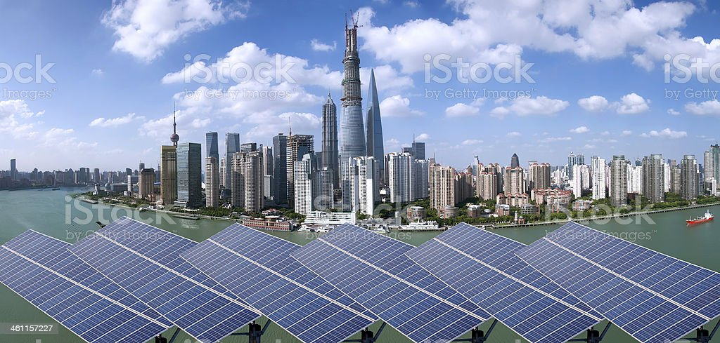 Shanghai Bund skyline landmark ,Ecological energy renewable sola royalty-free stock photo