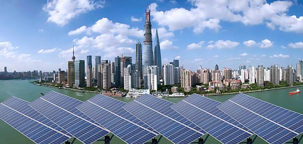 Shanghai Bund skyline landmark ,Ecological energy renewable sola stock photo