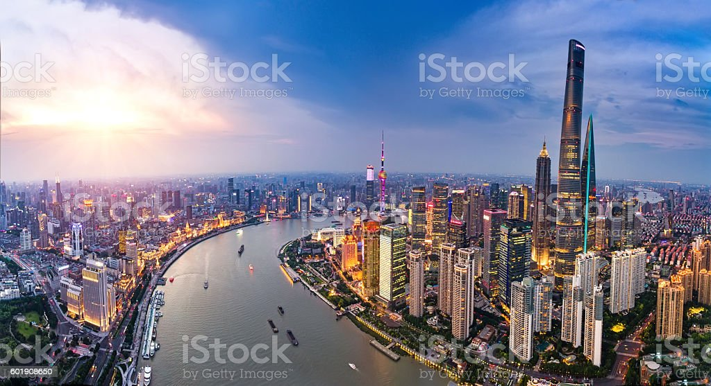 Shanghai Bund skyline panorama stock photo